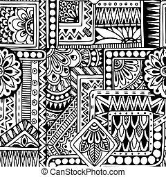 パターン, いたずら書き, 黒, seamless, 背景, 花, vector., 白