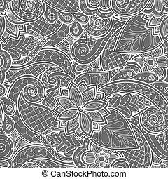 パターン, いたずら書き, doodles, 花, paisley.