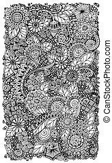 パターン, いたずら書き, zentangle, 民族, レトロ, 背景, 花, 円, vector.