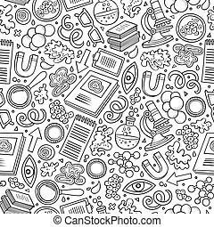 パターン, かわいい, 手, 漫画, 引かれる, 科学, seamless