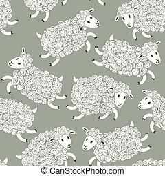 パターン, かわいい, seamless, sheep.