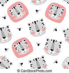 パターン, かわいい, seamless, tiger.