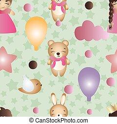 パターン, ∥で∥, 漫画, かわいい, おもちゃ, 女の赤ん坊, そして, うさぎ