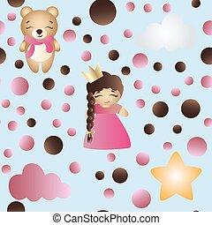 パターン, ∥で∥, 漫画, かわいい, おもちゃ, 女の赤ん坊, そして, 熊