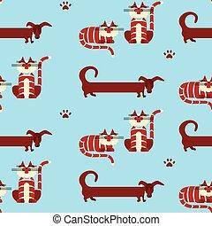 パターン, ねこ, 犬, seamless