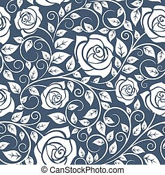 パターン, ばら, 白, seamles, 茎