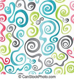 パターン, らせん状に動く, seamless, 有色人種