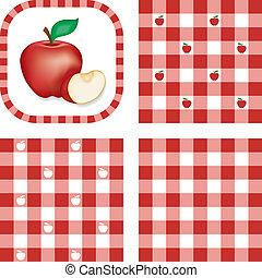 パターン, りんご, seamless, ギンガム