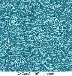 パターン, アジア人, 背景, ドラゴン