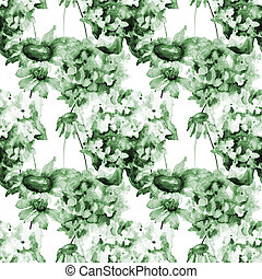 パターン, アジサイ, 花, seamless, camomile