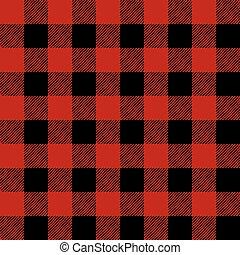パターン, イラスト, 黒, タイルを張った, 赤, フランネル