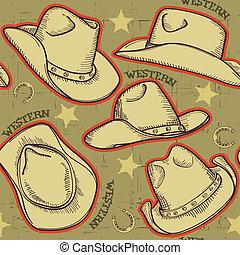パターン, イラスト, seamless, ベクトル, カウボーイ, バックグラウンド。, 帽子, 西部