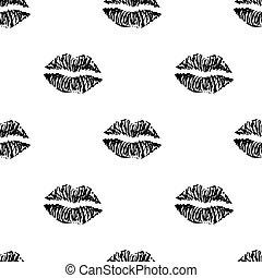 パターン, インク, seamless, lips.