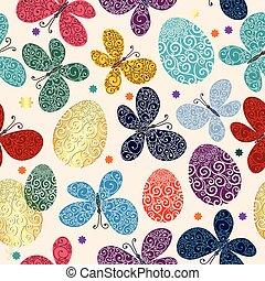 パターン, イースター, 鮮やか, seamless