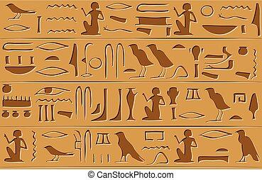 パターン, エジプト人, seamless, 象形文字