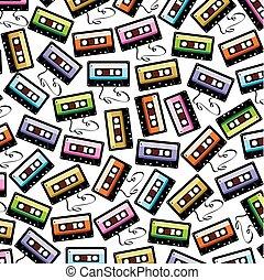 パターン, オーディオ, テープ, 背景, カセット