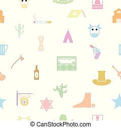 パターン, カウボーイ, icon., seamless, 背景