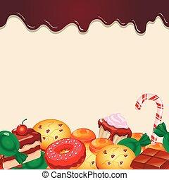 パターン, カラフルである, チョコレートキャンデー, seamless, 甘いもの