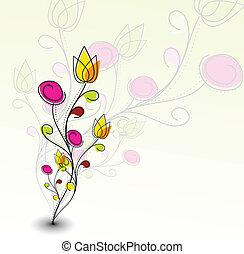 パターン, カラフルである, 抽象的, 花, 春