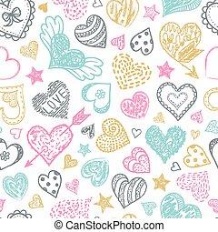 パターン, カラフルである, hearts.