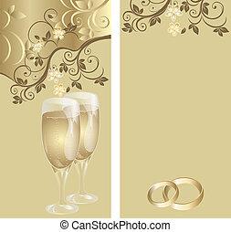 パターン, カード, 結婚式, 花