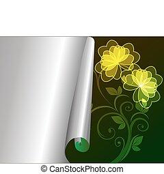 パターン, カード, curv, 花