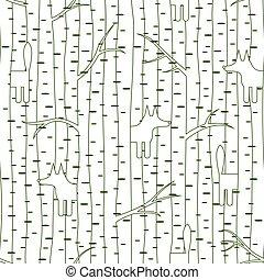 パターン, キツネ, seamless, 森林