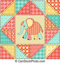 パターン, キルト, 象