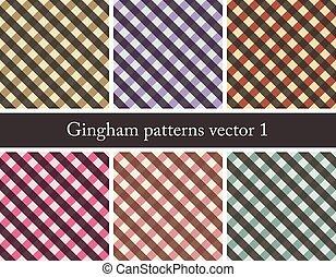 パターン, ギンガム, セット, seamless