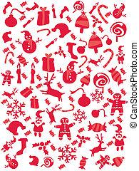 パターン, クリスマス, 赤, seamless