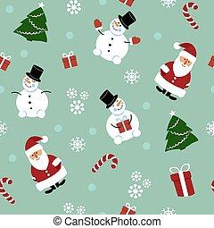 パターン, クリスマス, 雪だるま, santaclaus