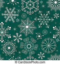 パターン, クリスマス, green-white, seamless