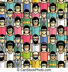 パターン, グループ, seamless, 人々