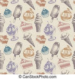 パターン, ケーキ, seamless, アイスクリーム