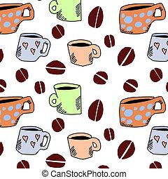 パターン, コーヒー, 手, 引かれる, カップ