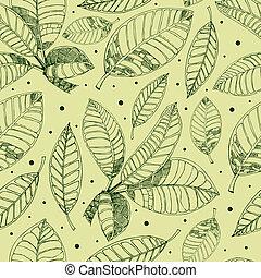 パターン, コーヒー, leafs, freehand