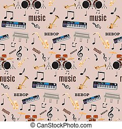 パターン, ジャズ, seamless, ベクトル, 音楽楽器, bebop