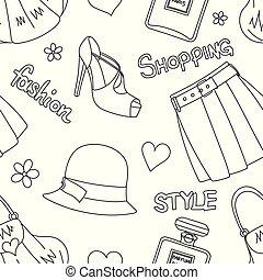 パターン, スカート, 香水, はき物, seamless, 帽子, ハンドバッグ, びん