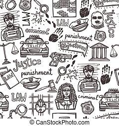 パターン, スケッチ, 法律, seamless, アイコン