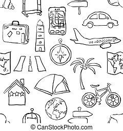 パターン, スケッチ, seamless, 旅行