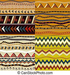 パターン, スタイル, セット, seamless, アフリカ