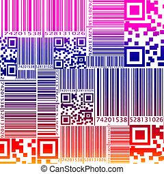 パターン, スタイル, barcode, seamless, colorfu
