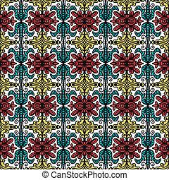 パターン, スタイル, seamless, 背景, 民族