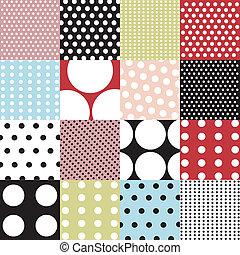 パターン, セット, ポルカ, seamless, 点