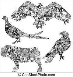 パターン, セット, 動物