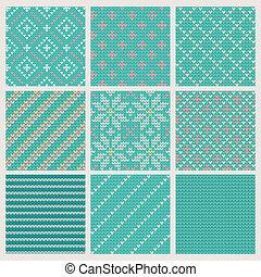 パターン, セット, 編むこと, seamless