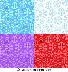 パターン, セット, 雪片, seamless