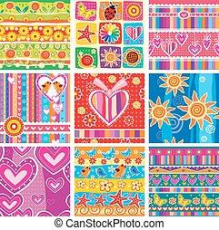 パターン, セット, childrens, seamless
