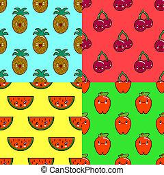 パターン, セット, kawaii, スイカ, パイナップル, さくらんぼ, 色, 成果, apple., イラスト, 平ら, バックグラウンド。