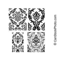 パターン, セット, seamless, ダマスク織